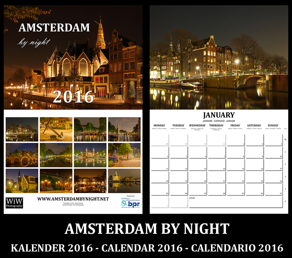 Amsterdam by Night Calender Calendario 2016 Notte